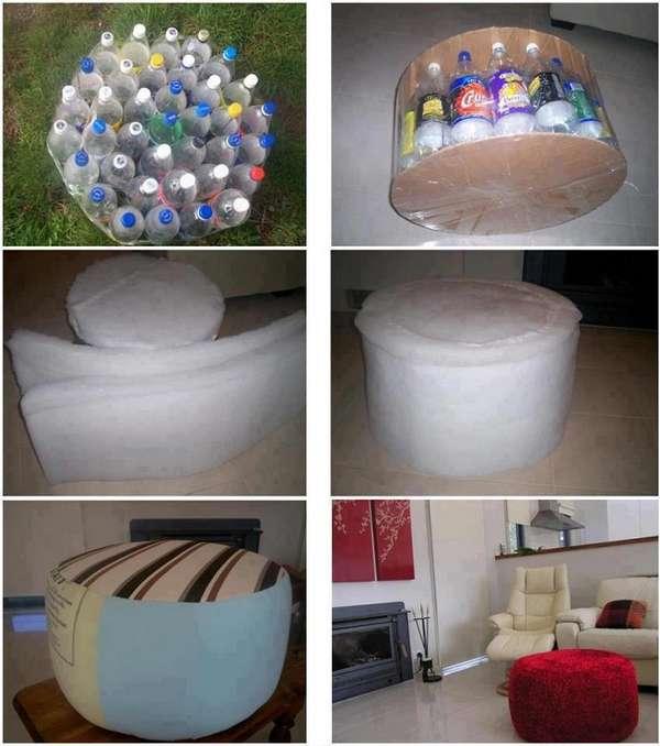 Как сделать пуф из бутылок